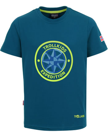 Trollkids Kids T-Shirt short sleeve WINDROSE T petrol/lime 807-151