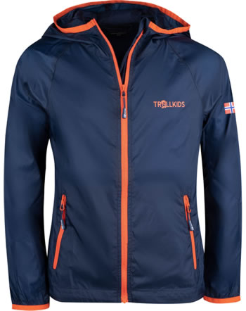 Trollkids Kids Running-Jacket FJELL mystic blue/orange 909-142