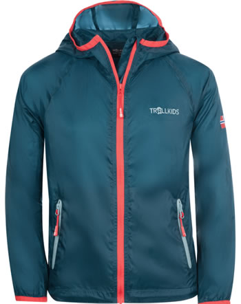 Trollkids Kids Running-Jacket FJELL petrol/spicy red 909-155
