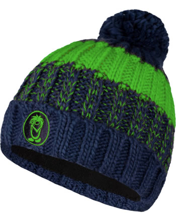 Trollkids Strick-Mütze KIDS TROLL BOBBLE CAP navy/bright green 946-100