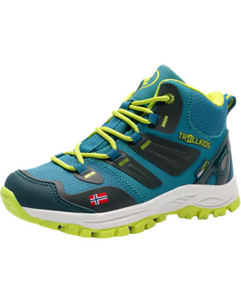 Trollkids Hiking Shoes KIDS RONDANE HIKER MID petrol/lime 252-151