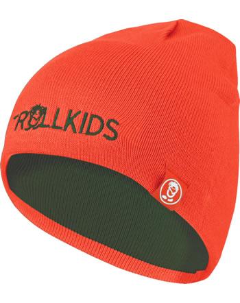 Trollkids Wende-Mütze Strick KIDS TROLL BEANIE forest green/flame orange 920-322