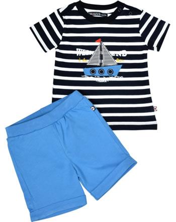 Weekend à la mer garçon chemise et short manches courtes FREGATE marine/bleu B121.35