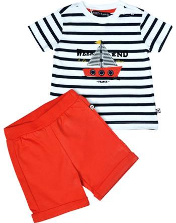 Weekend à la mer garçon chemise et short manches courtes FREGATE marine/rouge B121.35