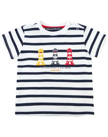 Weekend à la mer garçon t-shirt manches courtes COINDEMIRE rayé blanc/navy B121.11