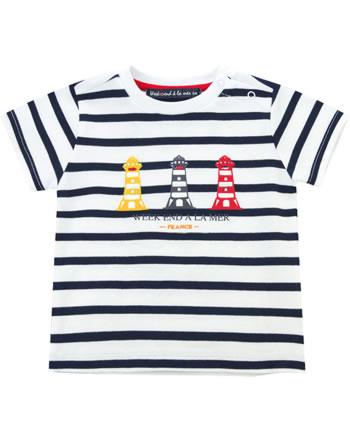 Weekend à la mer garçon t-shirt manches courtes COINDEMIRE rayé blanc/navy E121.11