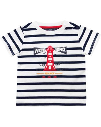 Weekend à la mer t-shirt manches courtes garçon PIEDANLO rayé blanc/navy B121.06