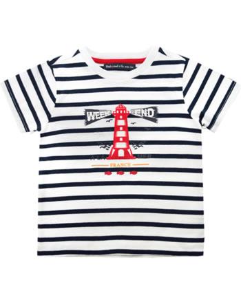 Weekend à la mer t-shirt manches courtes garçon PIEDANLO rayé blanc/navy E121.06