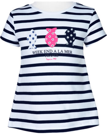 T-shirt manches courtes filles Weekend à la mer LADYWEEK bleu marine/rayé E121.45