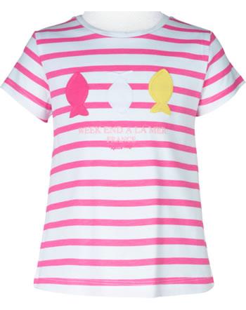 T-shirt manches courtes filles Weekend à la mer LADYWEEK rose/rayé E121.45