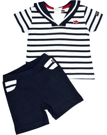 Weekend à la mer set chemise et short manches courtes basique MORBIHAN rayé B121.B17