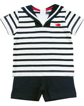 Weekend à la mer set chemise et short manches courtes basique MORBIHAN rayé E121.B17