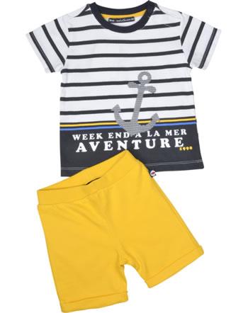 Weekend à la mer set chemise et short manches courtes ETONNANT rayé jaune B121.34