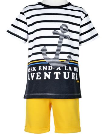 Weekend à la mer set chemise et short manches courtes ETONNANT rayé jaune E121.34