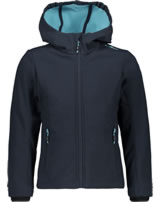 CMP Softshell jacket with hood Girl blue/turchese 3A29385N-03ND
