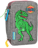 DINO WORLD pencil case with filling with sequins