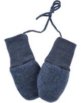 Engel Fleece Mittens of wool blue melange 575570-080