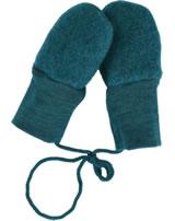 Engel Fleece Mittens of wool petrol melange 575570-36