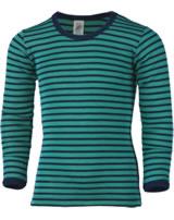 Engel Children's singlet long sleeve wool/silk ice blue/navy blue 727810-3533E GOTS