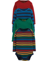 Frugi Baby Body Billy Langarm 4er Pack STREIFEN rainbow multipack BBA903RMB