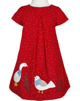 Frugi Kord-Kleid Holly Kurzarm ENTE UND VOGEL mars red DRA857MRD