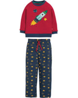 Frugi Pyjama Long John PJs LEON tango red/Rocket