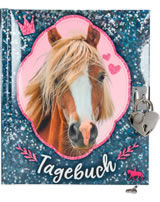 Horses Dreams Tagebuch Pailletten-Optik blau