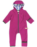 loud + proud Fleece-Overall mit Kapuze DACHS berry 5014-be GOTS
