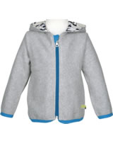 loud + proud Fleece-Jacke mit Kapuze FUCHS grey melange 3027-gr GOTS