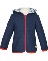 loud + proud Fleece-Jacke mit Kapuze HIRSCH midnight 3027-mi GOTS