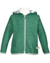 loud + proud Fleece jacket with hood PENGUIN jade 3045-jad GOTS
