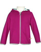 loud + proud Fleece-Jacke mit Kapuze ROBBE berry 3045-ber GOTS
