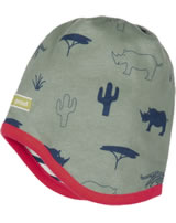 loud + proud Capuchon Bouchon réversible Rhino et guépard olive 7042-oli GOTS