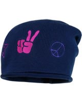 MaxiMo Strick-Beanie m. Rollrand PEACE tinte 73578-204100-0004