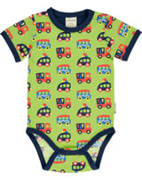 Maxomorra Baby-Body Kurzarm BUNTE AUTOS grün/blau GOTS M470-C3334