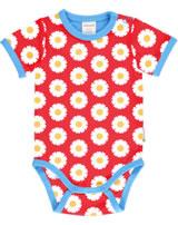 Maxomorra Baby-Body Kurzarm DAISY rot GOTS M470-C3345