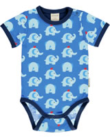 Maxomorra Bodysuit short sleeve ELEPHANT FRIENDS blue GOTS M470-C3339