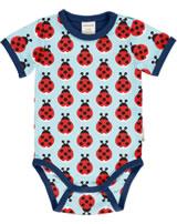 Maxomorra Baby-Body Kurzarm LAZY LADYBUG blau GOTS M470-C3344