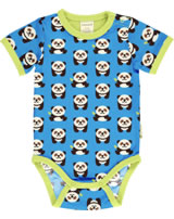 Maxomorra Baby-Body Kurzarm PANDA blau/grün GOTS M470-C3335