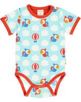 Maxomorra Bodysuit short sleeve PARROT SAFARI blue GOTS M470-C3340