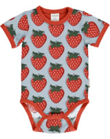 Maxomorra Bodysuit short sleeve STRAWBERRY red GOTS M470-C3378