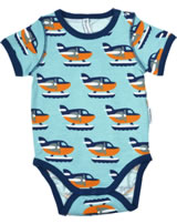 Maxomorra Baby-Body Kurzarm WASSERFLUGZEUG blau/orange P8SP-S334-D3089