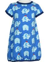 Maxomorra Ballon-Kleid Kurzarm ELEPHANT FRIENDS blau GOTS M514-C3339