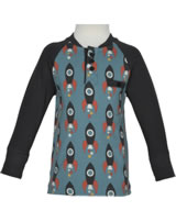 Maxomorra Baseball-Shirt Langarm MOON ROCKET blau/grau M431-D3277 GOTS