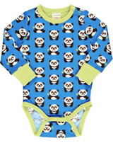 Maxomorra Body Langarm PANDA blau/grün GOTS M469-C3335