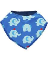 Maxomorra Dreieck-Halstuch ELEPHANT FRIENDS blau GOTS M348-C3339