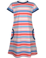 Maxomorra Kleid Kurzarm Streifen Blossom rosa/blau GOTS M516-C3351