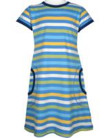 Maxomorra Kleid Kurzarm Streifen Ocean blau/gelb GOTS M516-C3350