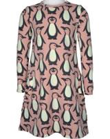 Maxomorra Kleid Langarm PINGUIN FAMILIE rosa M436-D3298 GOTS