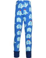 Maxomorra Leggings mit Bündchen ELEPHANT FRIENDS blau GOTS M435-C3339